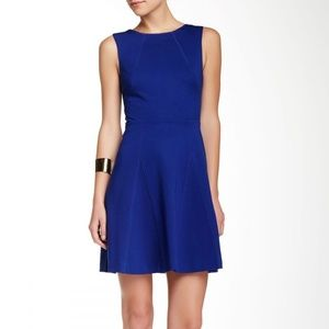 TRINA TURK MARINE BLUE DELPHINE A-LINE DRESS